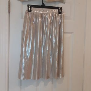 Zara girls metallic silver midi pleated skirt